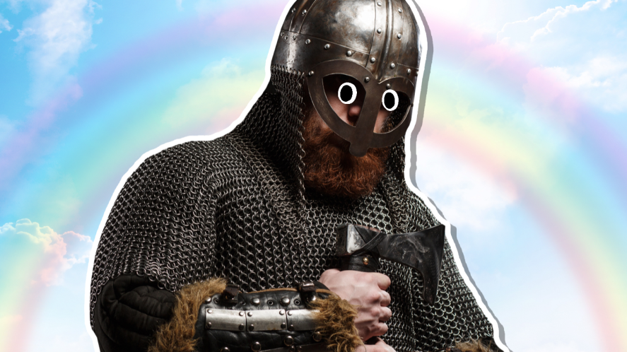 A viking and a rainbow