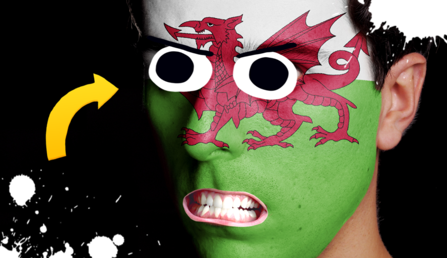 A man with a Welsh flag painted on his face