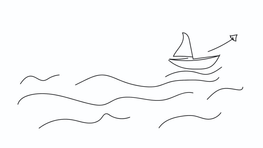 A boat on the sea