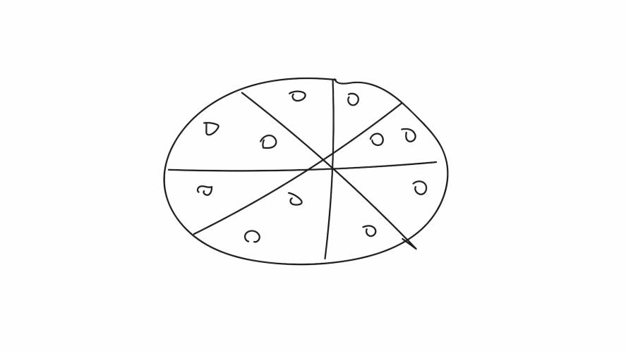 A circle split into sections and covered with smaller circles