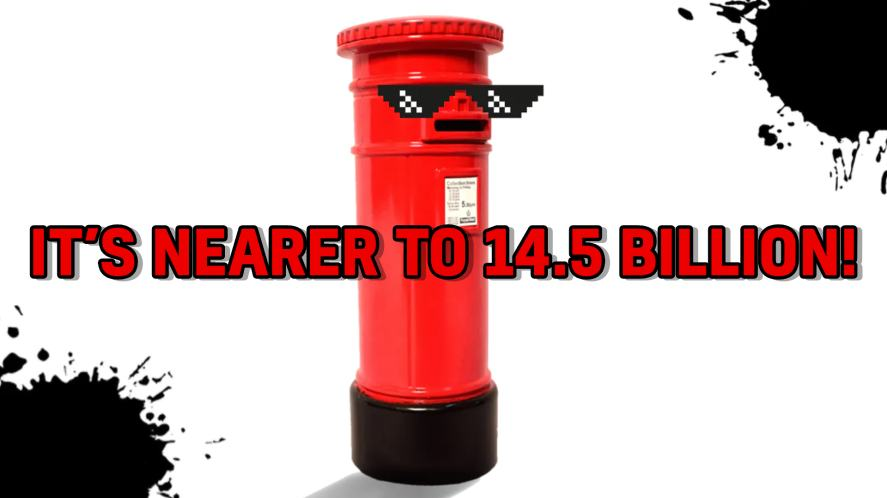A red post box wearing sunglasses