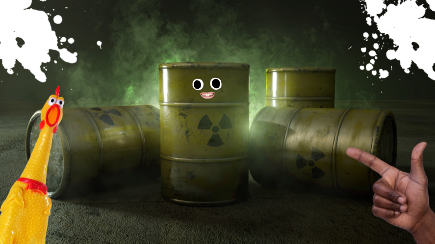 Some metal drums containing nuclear waste
