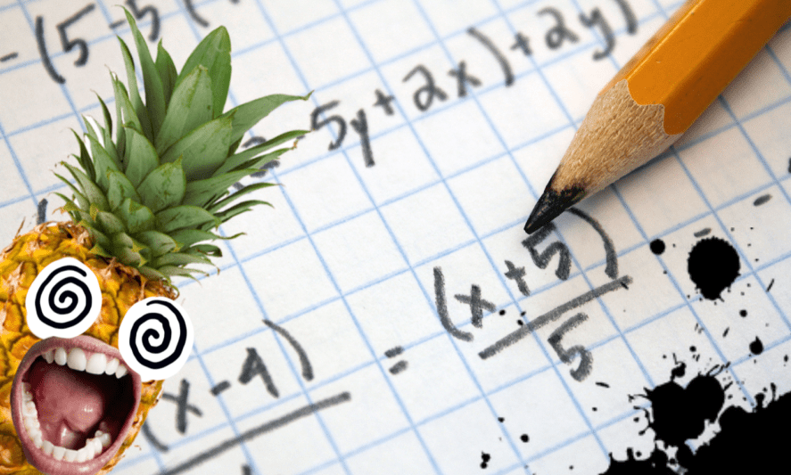 An equation and a screaming pineapple