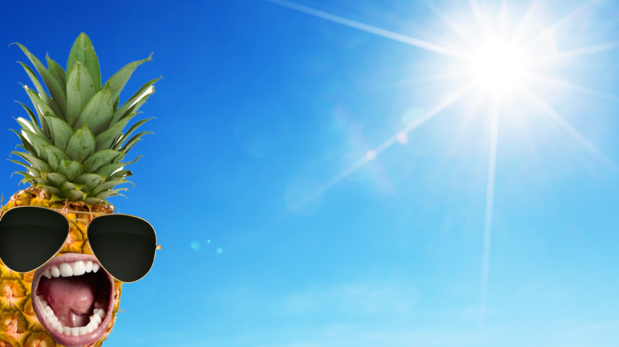 A pineapple shouting at the sun