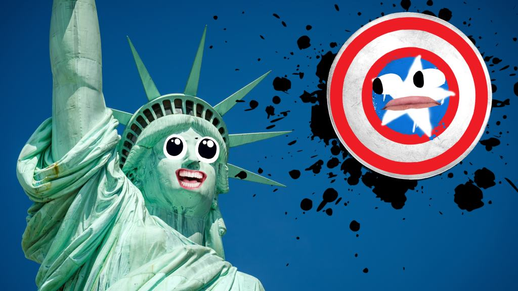 The statue of Liberty laughing at Captain America