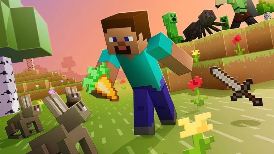 A Minecraft player feeding fluffy