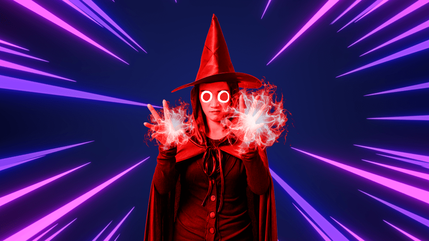 Scarlet Witch on a laser background