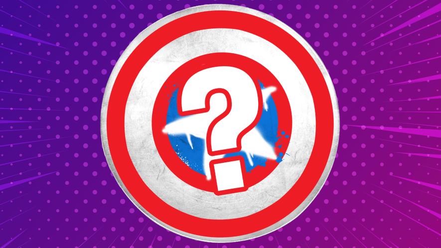 Captain America shield on purple background