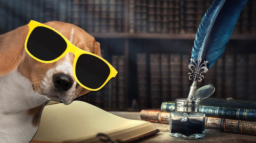 A dog with some old fashioned writing tools