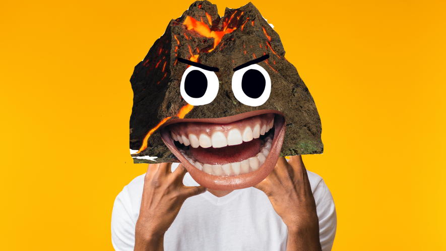 Man with a volcano head on yellow background