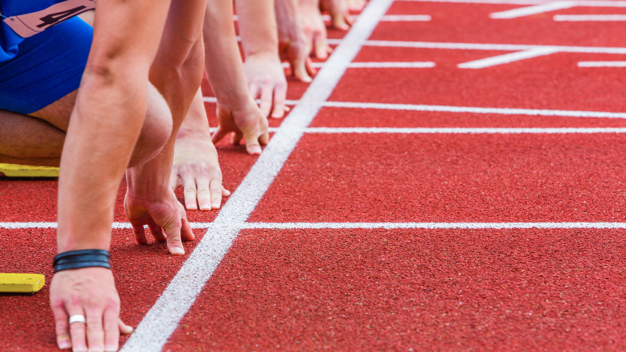 Runners about to start a race