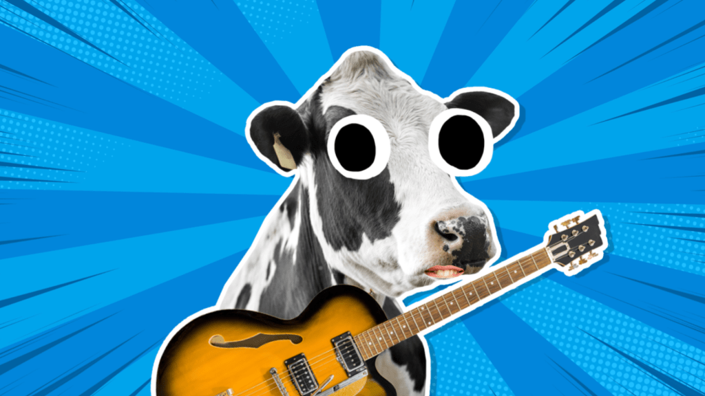 Black and white cow playing electric guitar