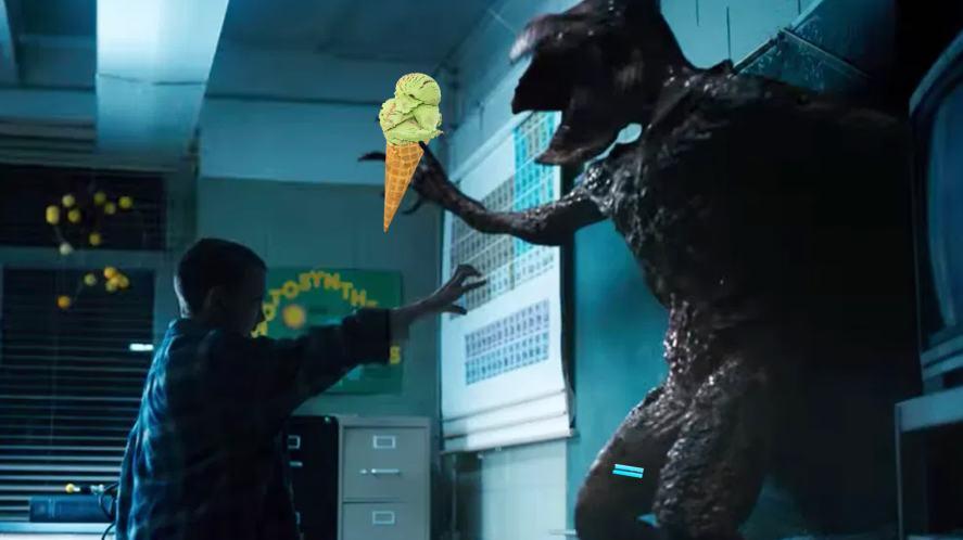 Eleven, Demogorgon and ice cream