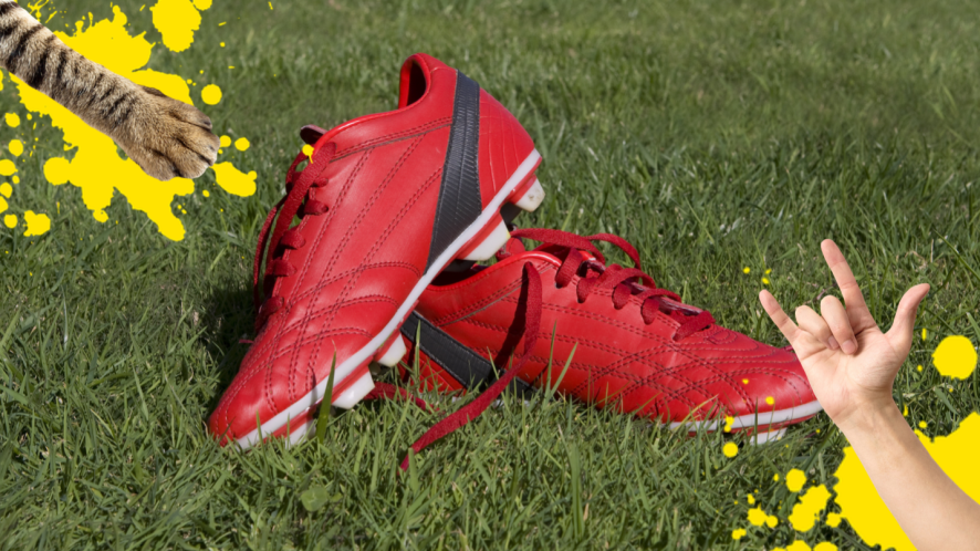 Red football boots