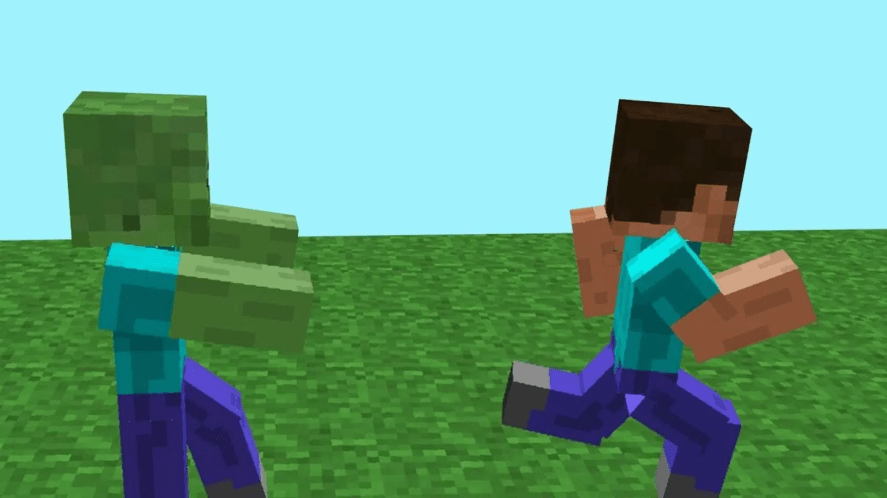 Running from a Minecraft zombie