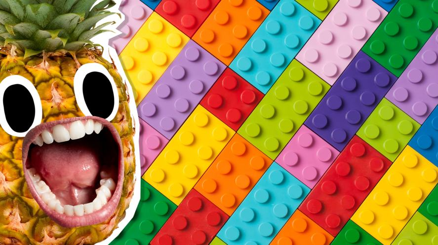 A pineapple screaming at a grid made of Lego