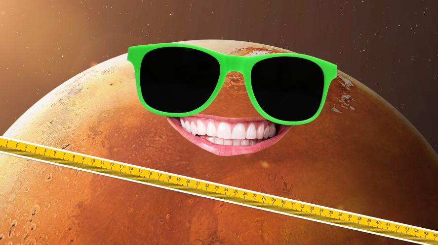 A ruler measuring Mars' diameter