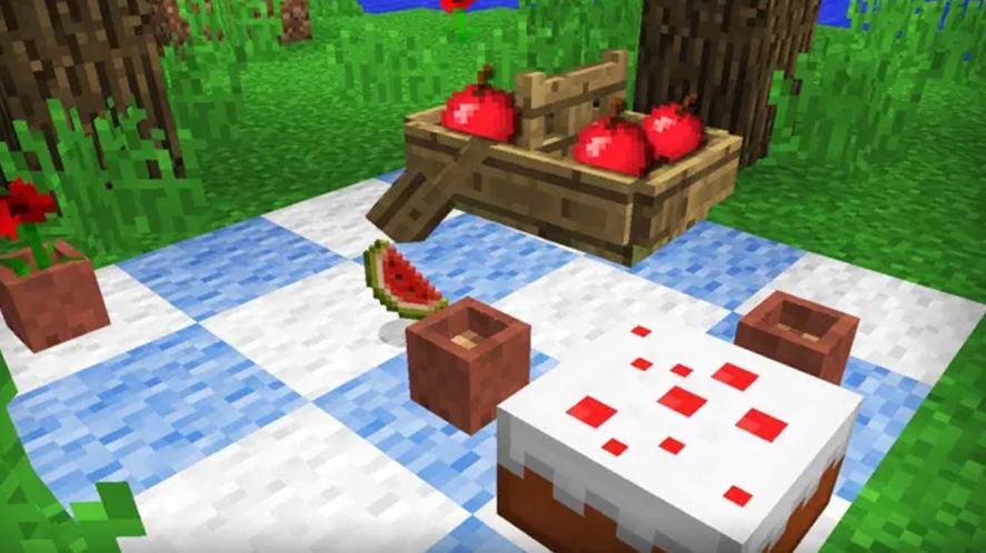 A Minecraft picnic spread
