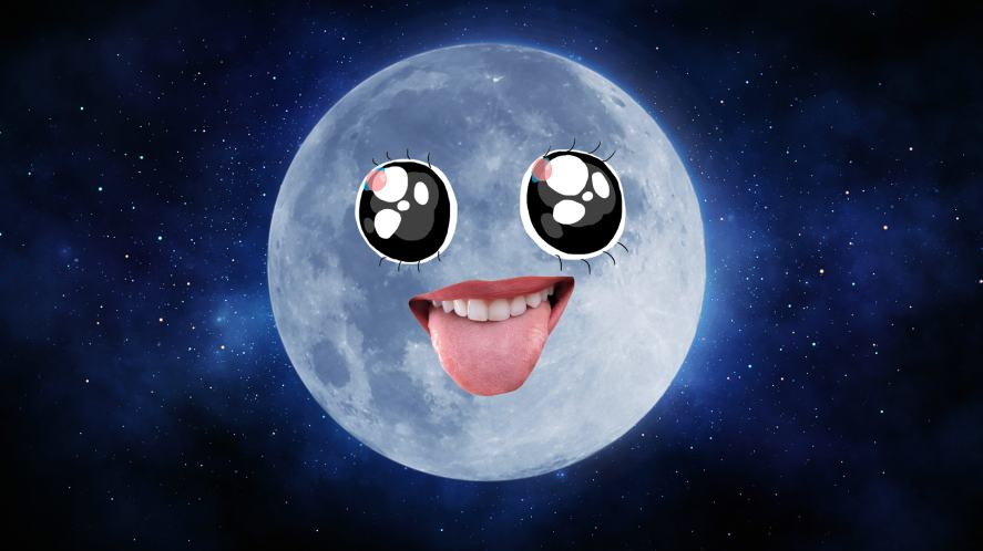 A full moon with a cheeky face