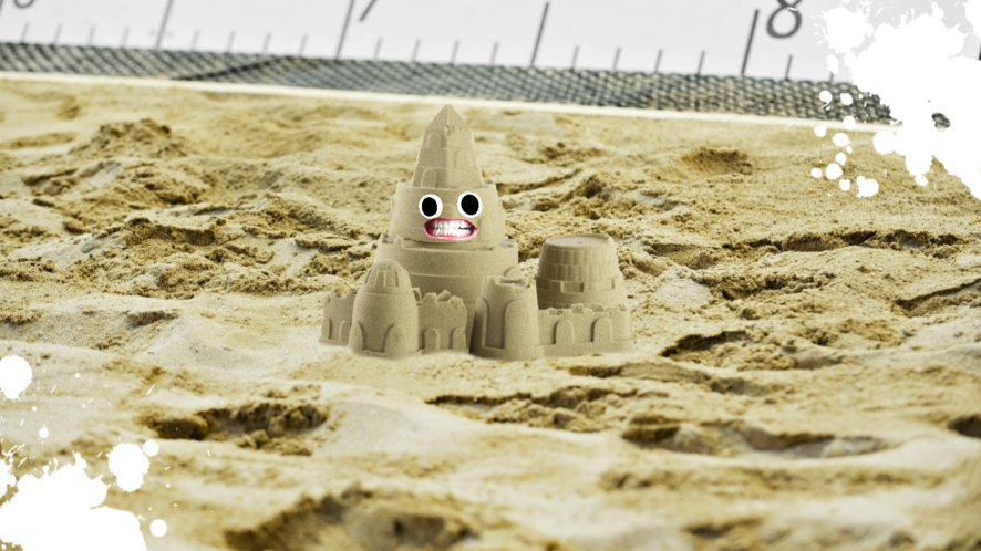A sandcastle in a long jump sandpit
