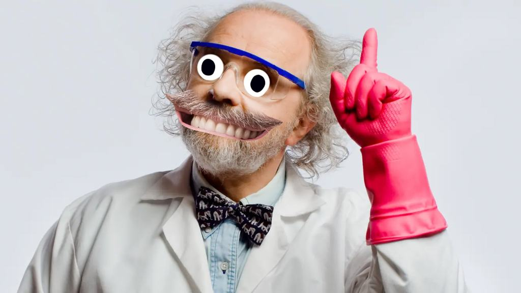 A scientist wearing a big glove