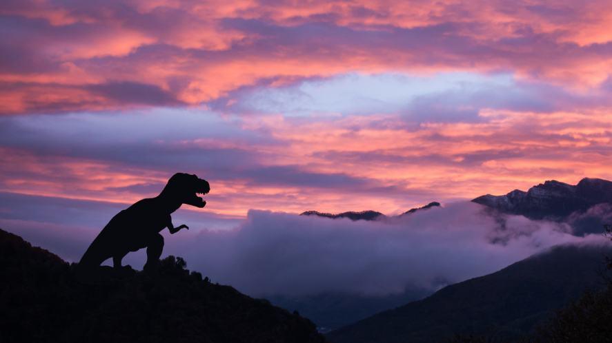 Silhouette of a tyrannosaurus rex at sunrise