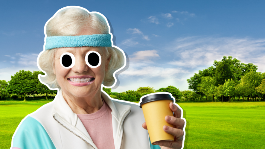 A lady in a tracksuit enjoying a coffee in the park