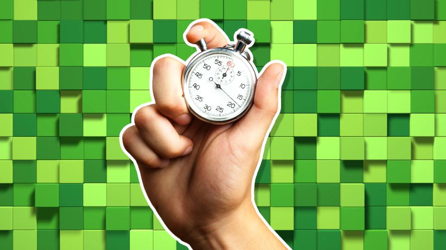 A stopwatch against a Minecraft-style background