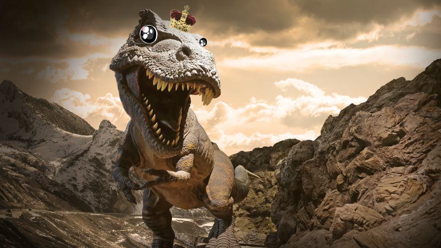 T-rex wearing a crown