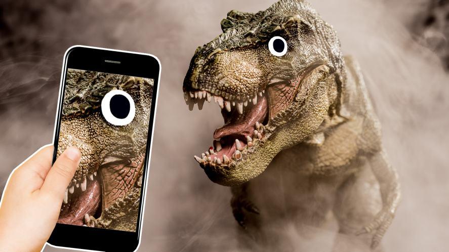 Tyrannosaurus rex and a keen photographer