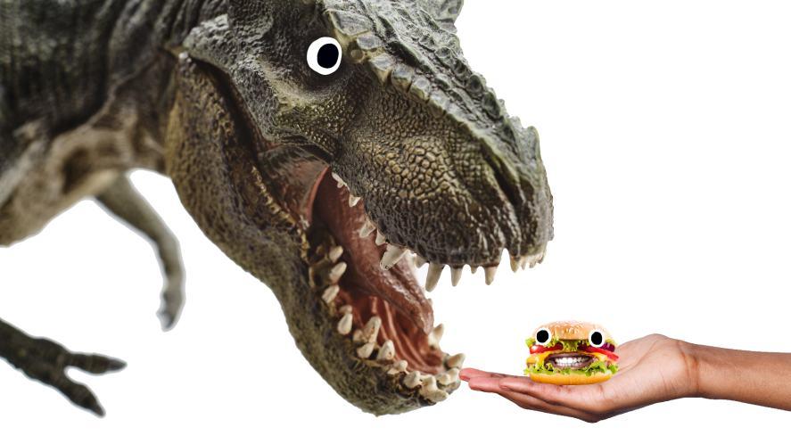 T-rex offered a hamburger