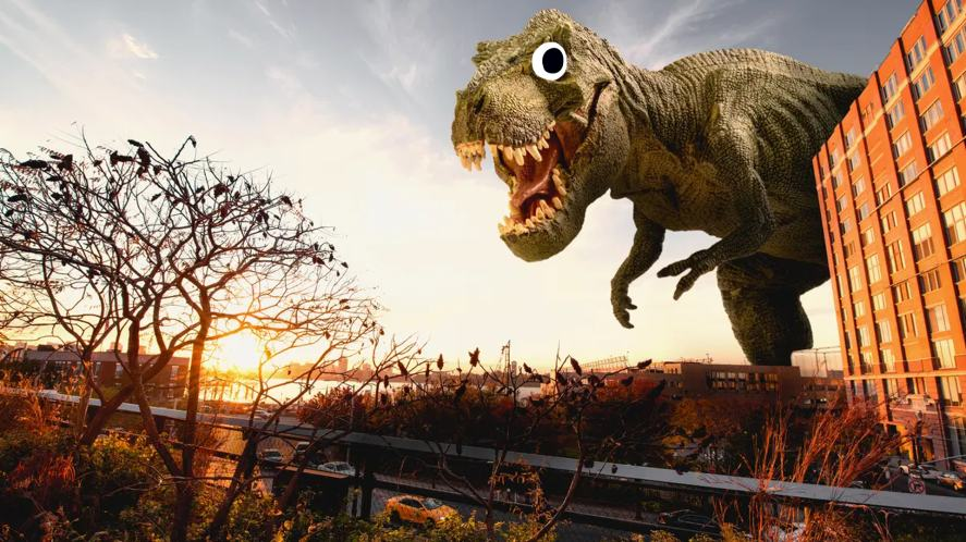 T-rex looms over a town