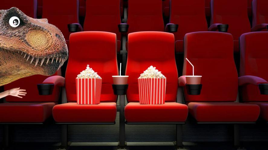 A dinosaur at the cinema