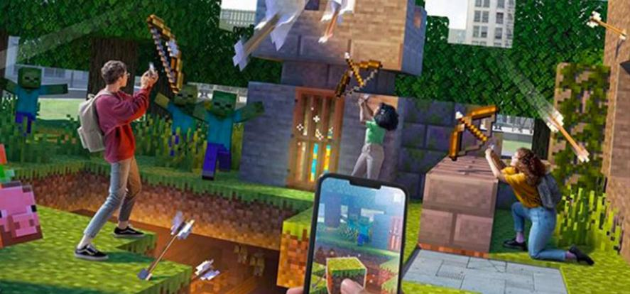 Kids firing arrows at Minecraft Earth characters
