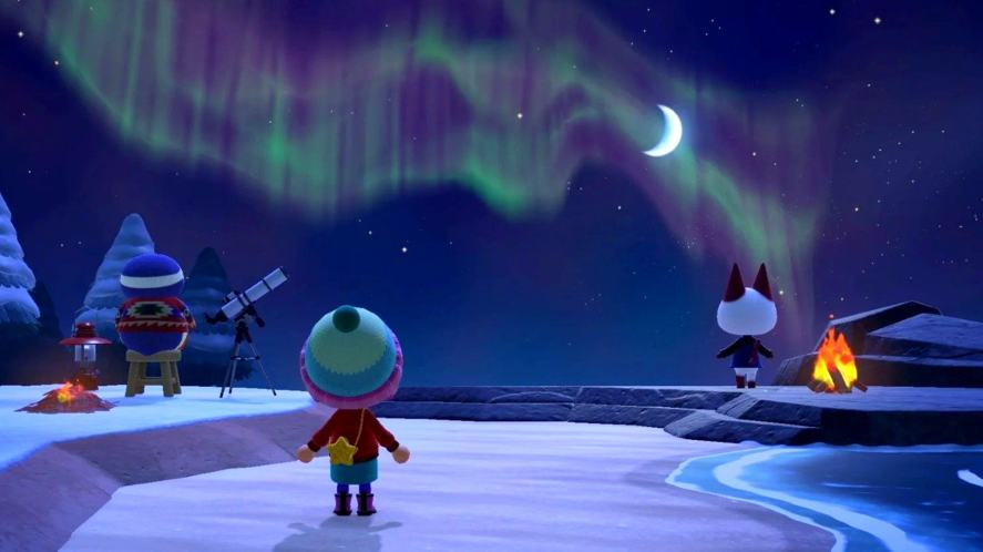 An Animal Crossing player looks at the Northern lights