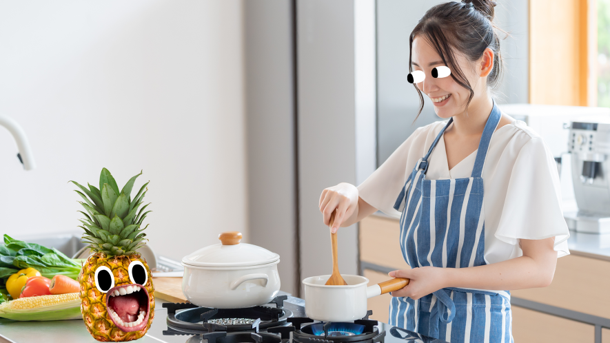 Woman cooking with screaming pineapple
