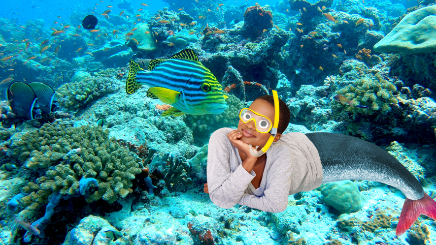Mermaid on reef