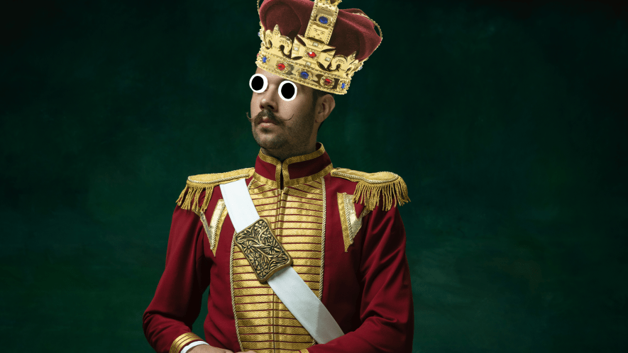 King with crown on dark background