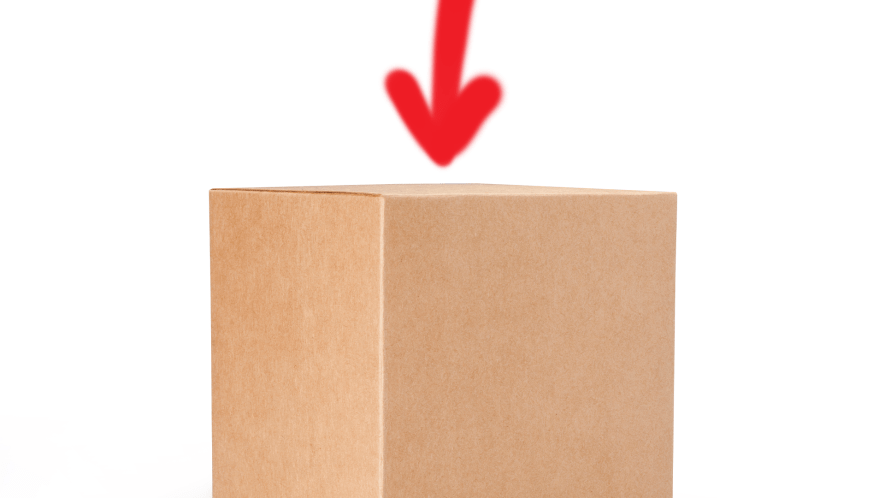 Box on white background with arrow pointing to it