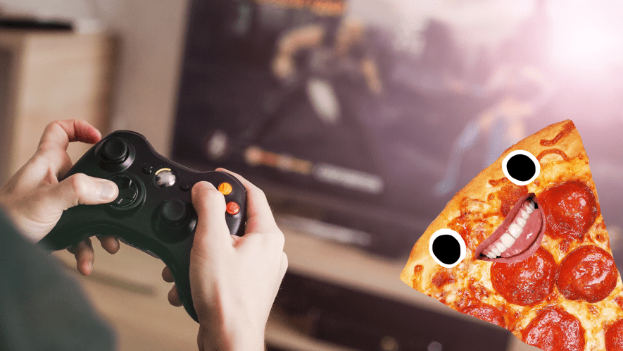 Hands gaming with smiling pizza slice