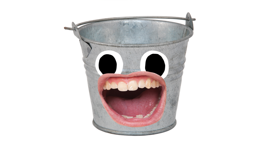 Bucket with face