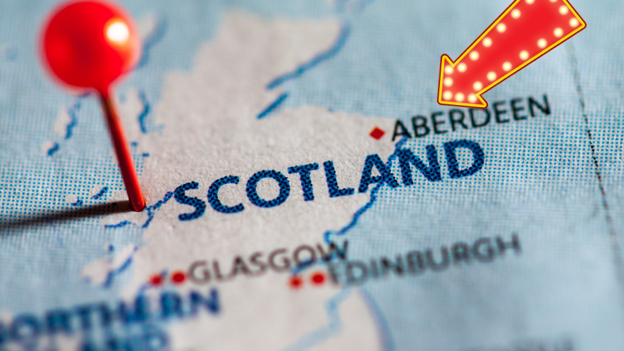 Map of Scotland with arrow