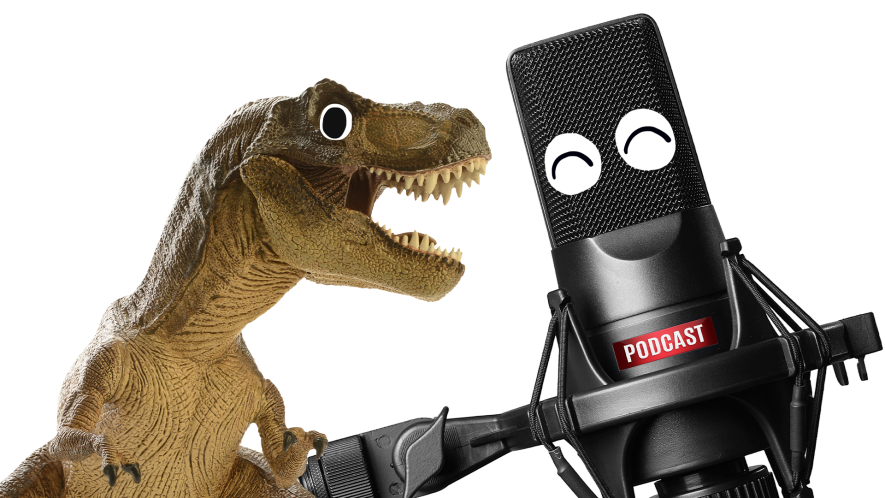 Dinosaur and microphone with smiley face on white background