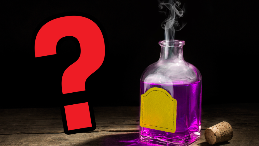 Purple potion with question mark