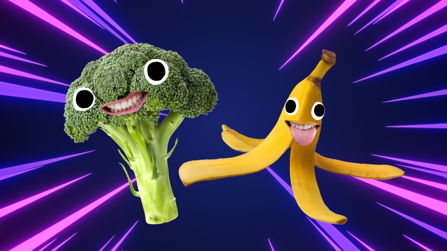 Smiling broccoli and banana on laser background