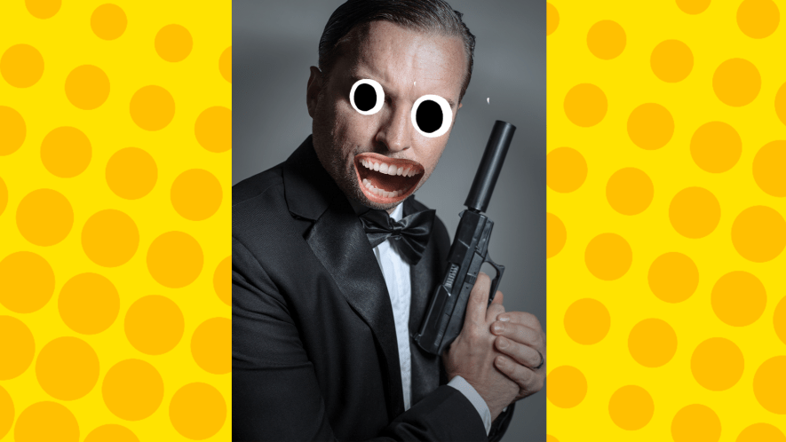 Suave Spy on yellow background