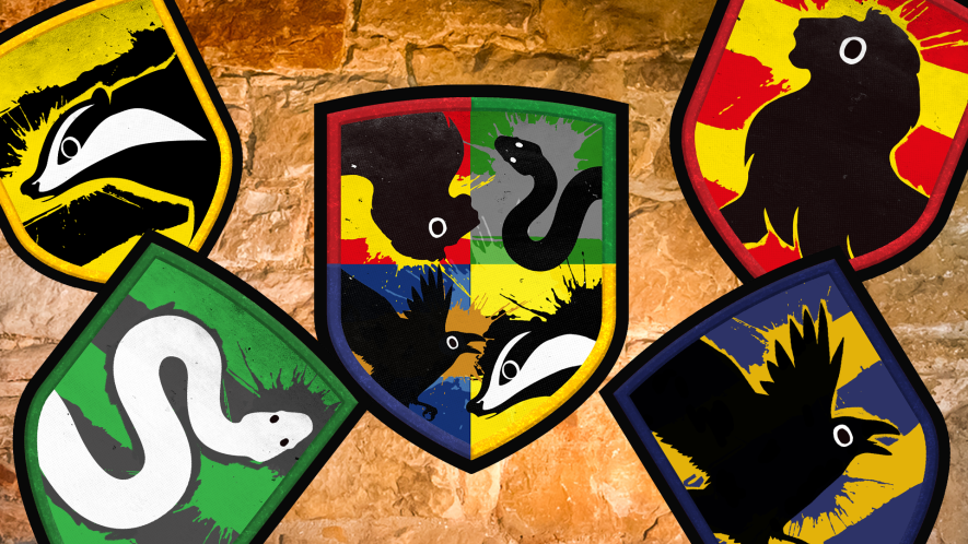 Harry Potter house crests on stone background