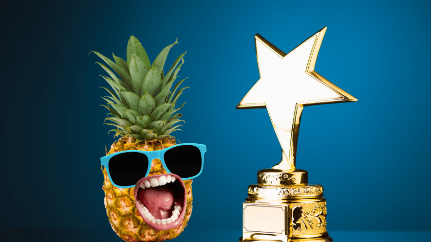 Pineapple with sunglasses and award