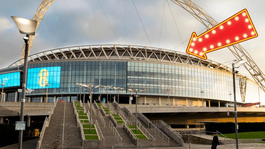 Webly stadium with arrow