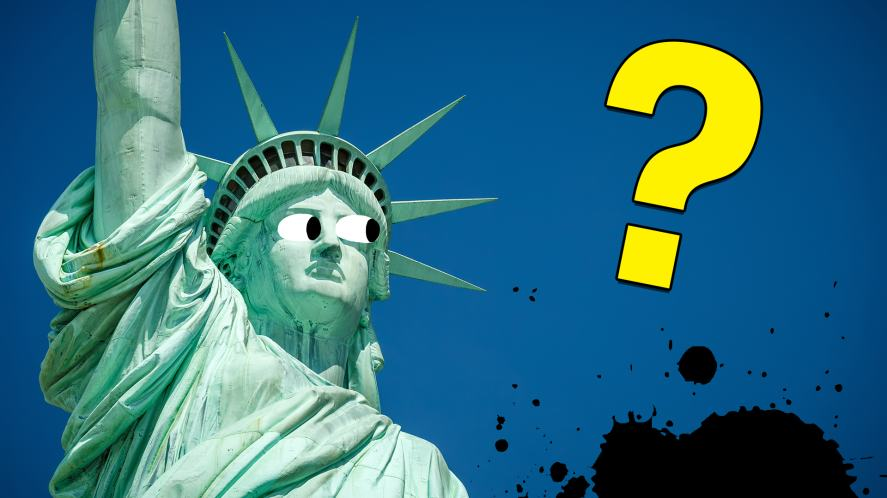 Statue of Liberty looks confused